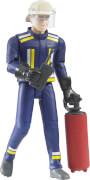 Bruder 60100 Feuerwehrmann mit Helm, Handschuhe, Zubehör, ab 4-8 Jahren, Maße: 7,6 x 5,1 x 17,8 cm, Plastik & Kunststoff
